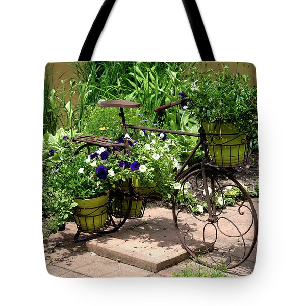 Flowers Home From The Market  Tote Bag by Paul Cannon