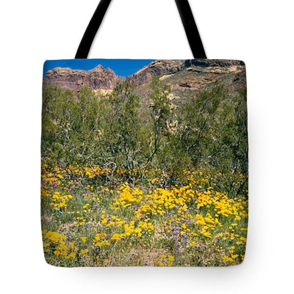 Flowers In A Field, Organ Pipe Cactus Tote Bag