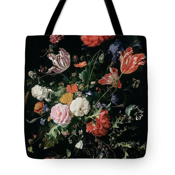 Flowers In A Glass Vase, Circa 1660 Tote Bag