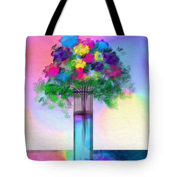 Tote Bag featuring the digital art Flowers In A Glass Vase by Frank Bright