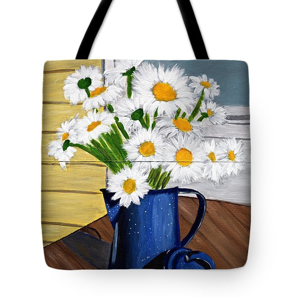 Tote Bag featuring the painting Flowers In A Teapot by Laura Forde