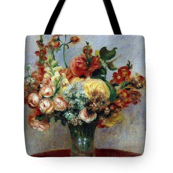 Flowers In A Vase Tote Bag by Pierre-Auguste Renoir
