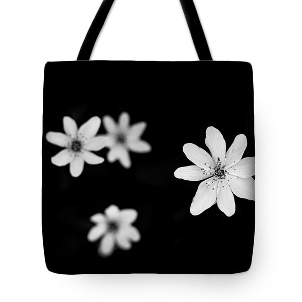 Flowers In Black Tote Bag by Shane Holsclaw
