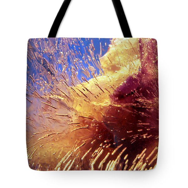 Tote Bag featuring the photograph Flowers In Ice by Randi Grace Nilsberg