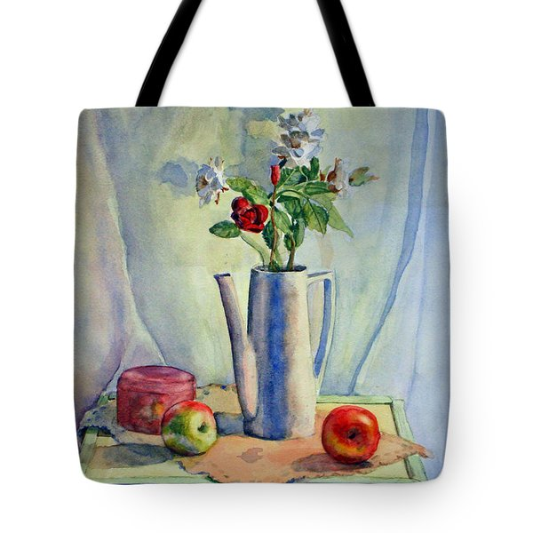 Flowers In Pitcher With Apples Tote Bag