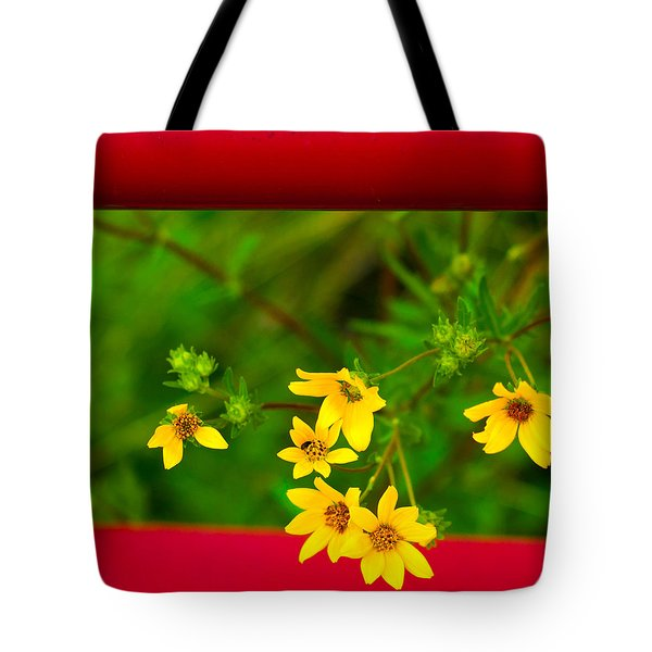 Flowers In Red Fence Tote Bag