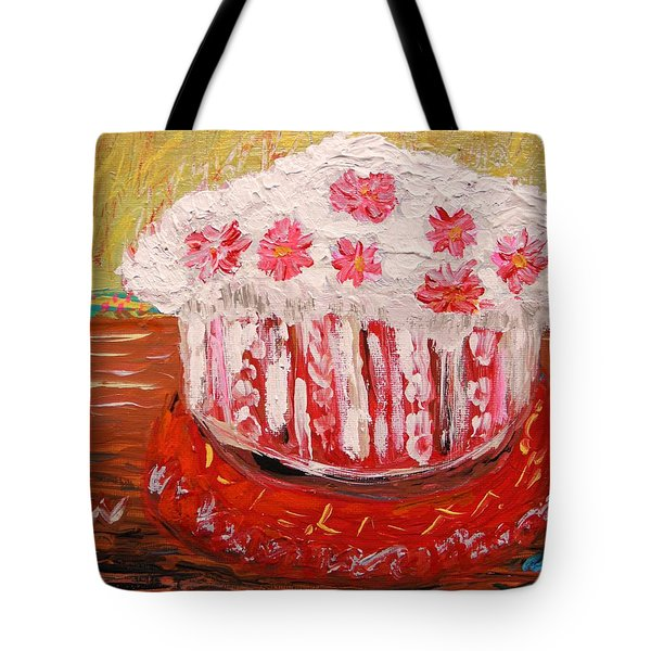 Tote Bag featuring the painting Flowers In The Frosting by Mary Carol Williams