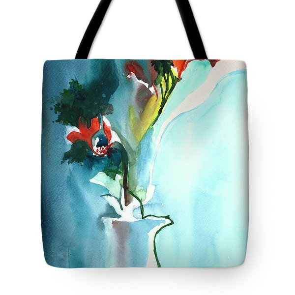 Flowers In Vase Tote Bag by Anil Nene