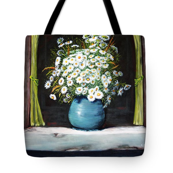 Flowers On The Ledge Tote Bag