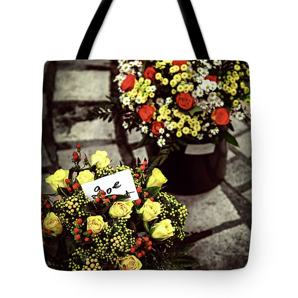 Flowers On The Market In France Tote Bag by Elena Elisseeva