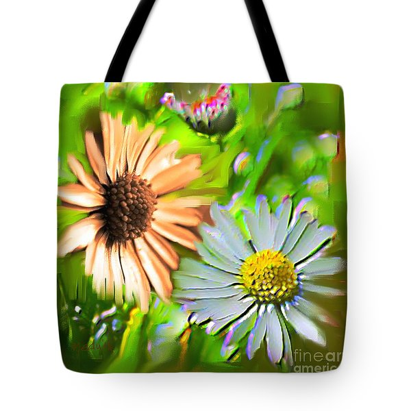 Flowers Orange And Blue Tote Bag by Nedunseralathan R