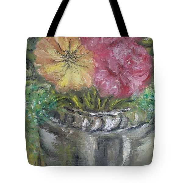 Tote Bag featuring the painting Flowers by Teresa White