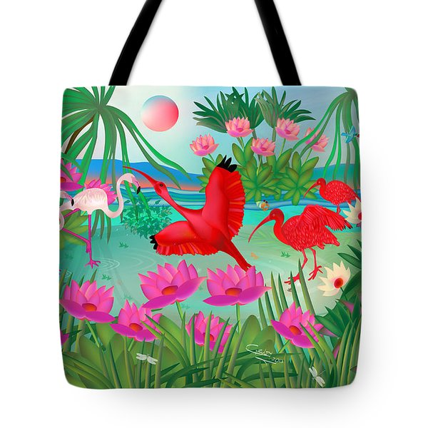 Flowery Lagoon - Limited Edition 1 Of 20 Tote Bag by Gabriela Delgado