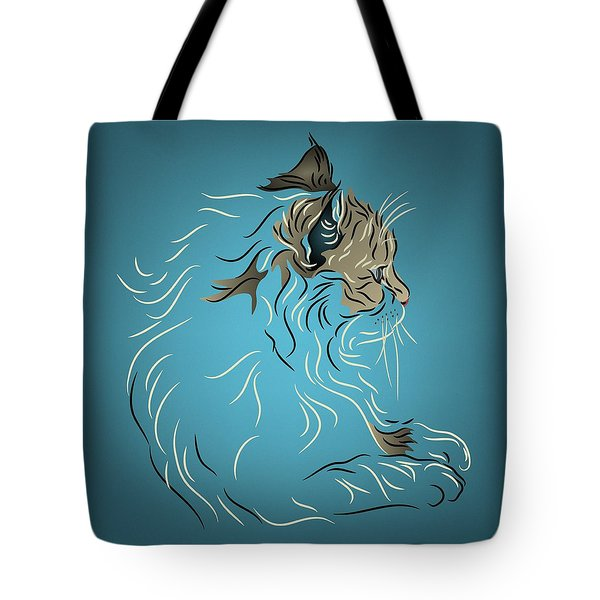 Tote Bag featuring the digital art Fluffy Gray Cat In Profile by MM Anderson