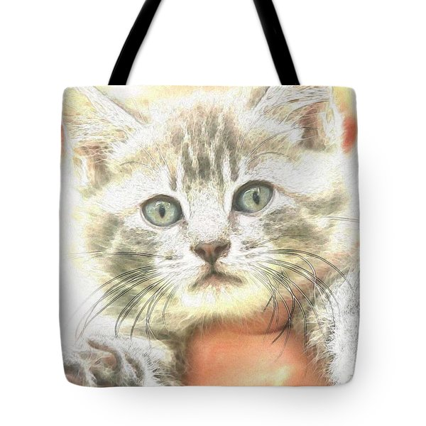 Fluffy Kitten Tote Bag by PainterArtist FIN
