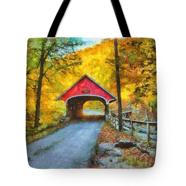 Flume Gorge Covered Bridge Against Golden Color Tote Bag