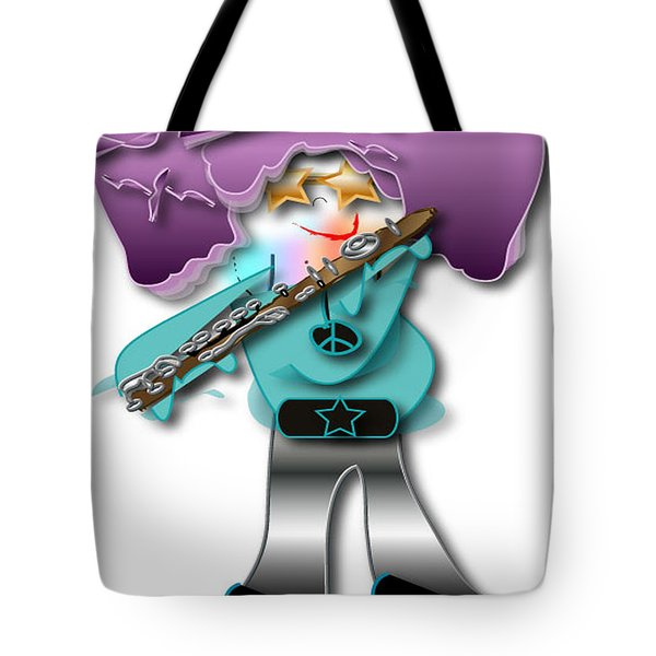 Tote Bag featuring the digital art Flute Player by Marvin Blaine