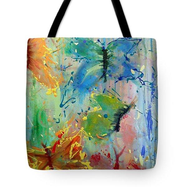 Flutter In The Rain Tote Bag