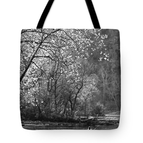 Fly Fisherwoman Bw Tote Bag by Denise Romano
