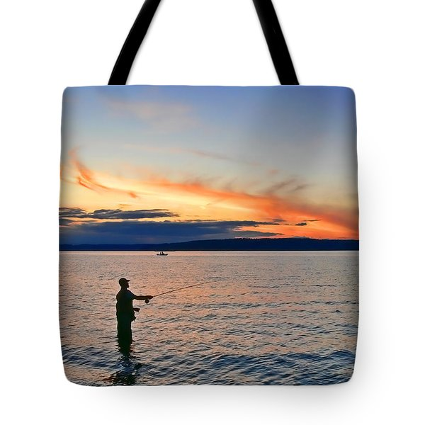 Fly Fishing  Fisherman On Puget Sound Washington Tote Bag by Jennie Marie Schell