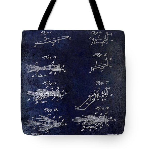1922 Fly Fishing Lure Blue Tote Bag