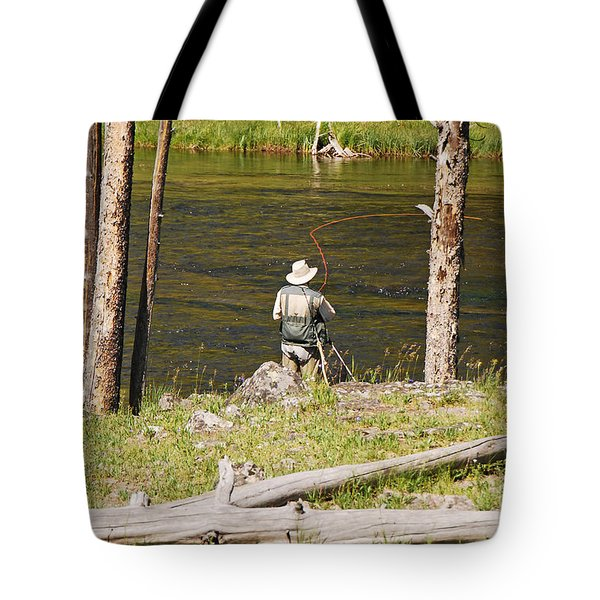 Tote Bag featuring the photograph Fly Fishing by Mary Carol Story