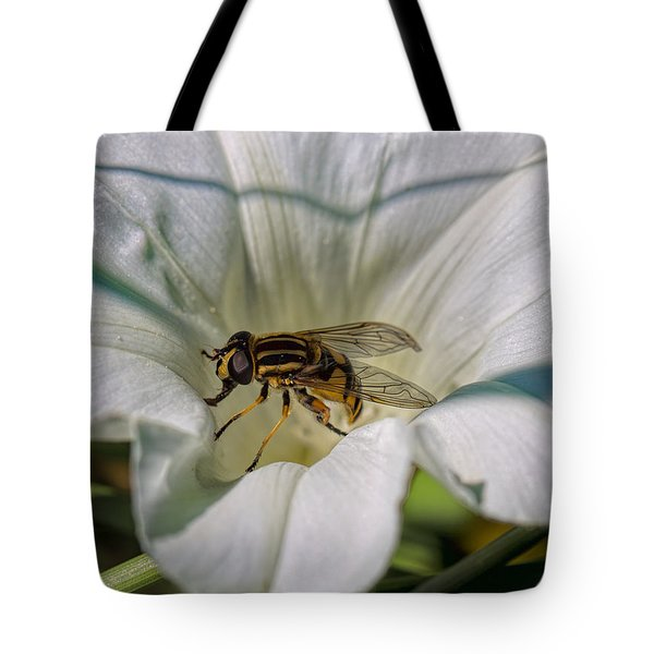 Tote Bag featuring the photograph Fly In White Flower by Leif Sohlman