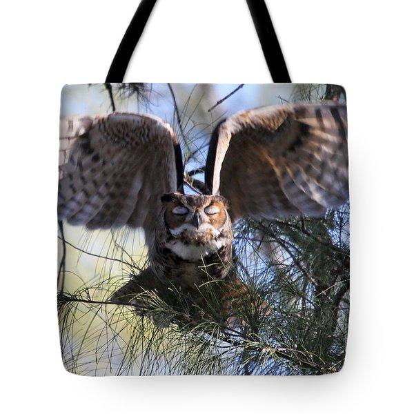 Flying Blind - Great Horned Owl Tote Bag