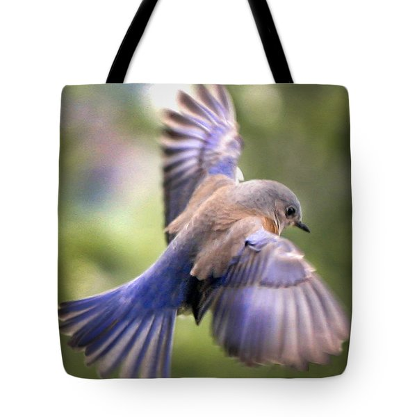 Flying Bluebird Tote Bag