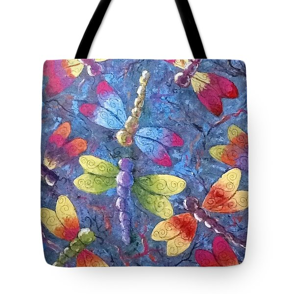 Tote Bag featuring the painting Flying Dragons by Megan Walsh