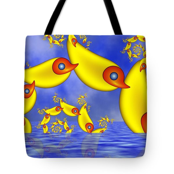 Tote Bag featuring the digital art Jumping Fantasy Animals by Gabiw Art