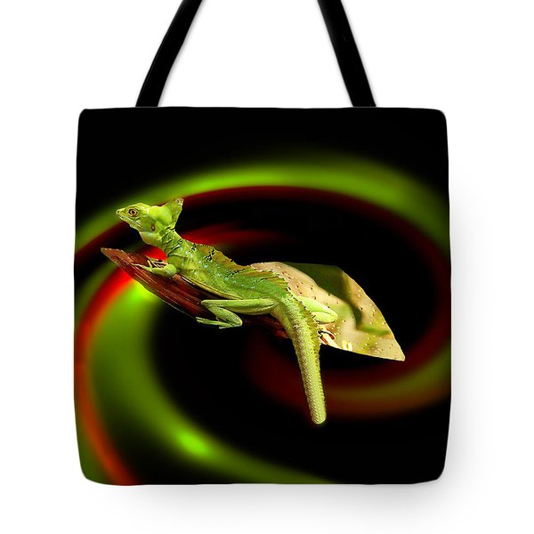 Flying Gekko Tote Bag by Christine Sponchia