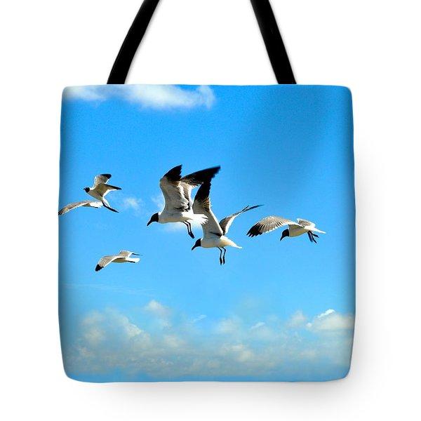 Flying Gulls Tote Bag