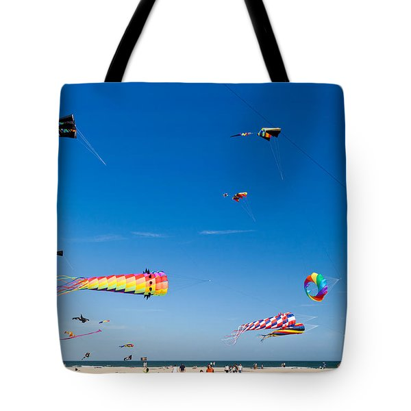Flying Kites At St Augustine Beach Pier Tote Bag by Michelle Wiarda