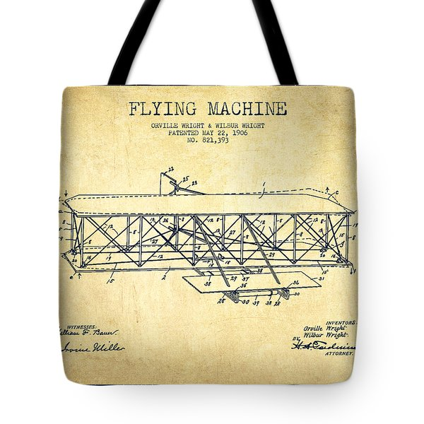 Flying Machine Patent Drawing From 1906 - Vintage Tote Bag by Aged Pixel