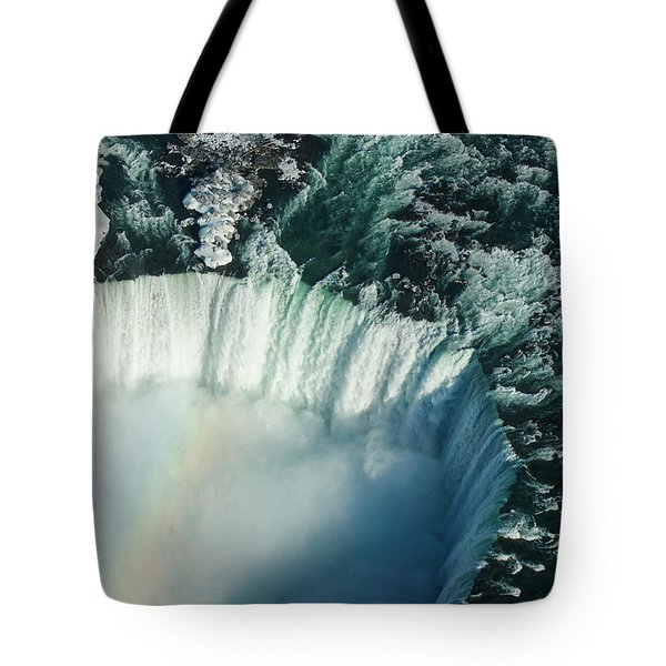 Flying Over Icy Niagara Falls Tote Bag