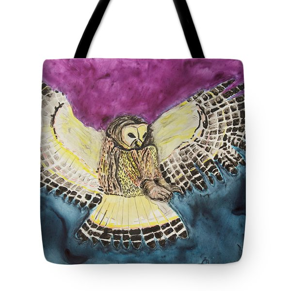 Tote Bag featuring the painting Flying Owl by Jeanne Fischer