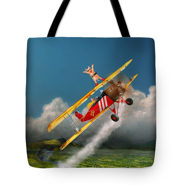 Flying Pigs - Plane - Hog Wild Tote Bag by Mike Savad