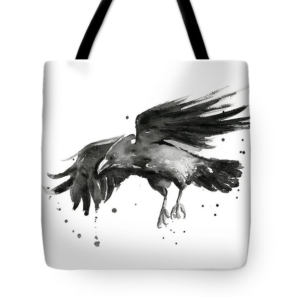 Flying Raven Watercolor Tote Bag