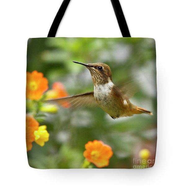 Flying Scintillant Hummingbird Tote Bag