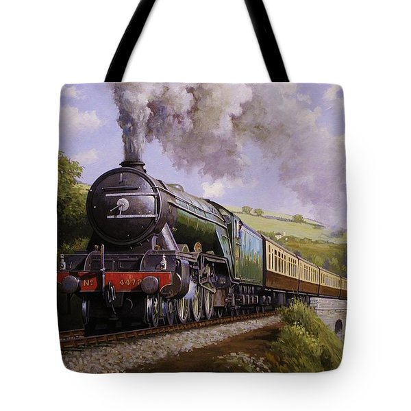 Flying Scotsman On Broadsands Viaduct. Tote Bag