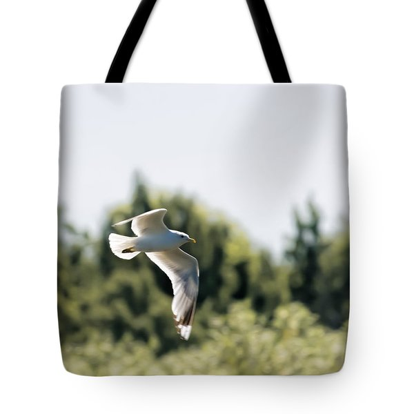 Tote Bag featuring the photograph Flying Seagull by Leif Sohlman