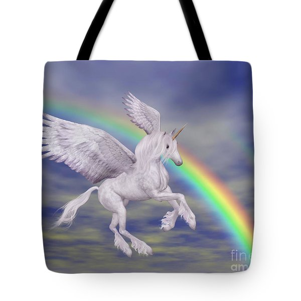 Flying Unicorn And Rainbow Tote Bag