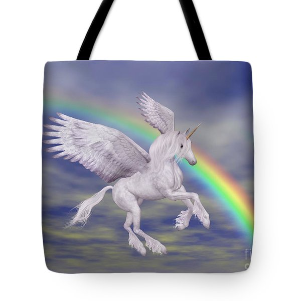 Flying Unicorn And Rainbow Tote Bag