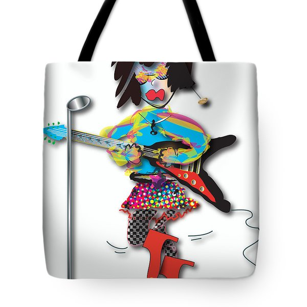 Tote Bag featuring the digital art Flying V Girl by Marvin Blaine