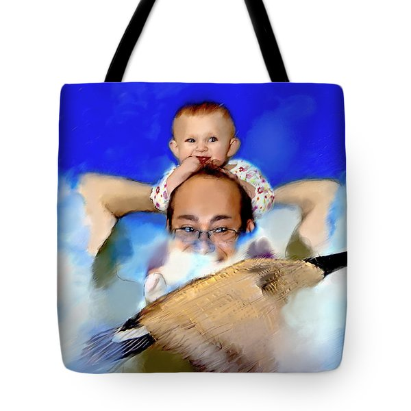Tote Bag featuring the painting Flying With Canada Geese by Ted Azriel