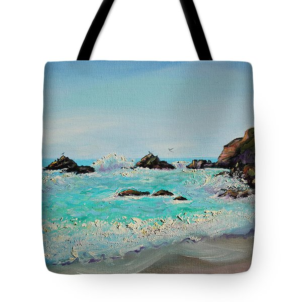 Foamy Ocean Waves And Sandy Shore Tote Bag
