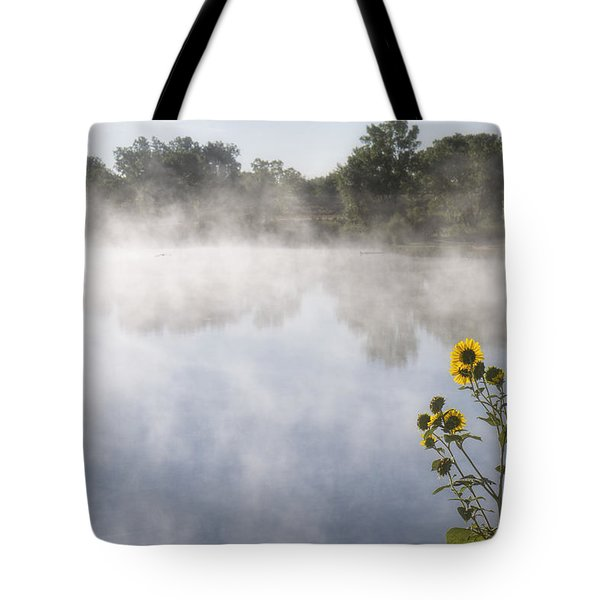 Tote Bag featuring the photograph Fog And Sunflowers by Rob Graham