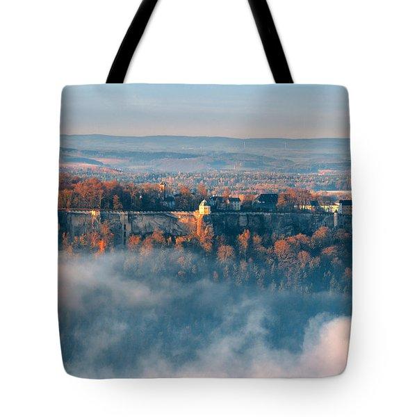 Fog Around The Fortress Koenigstein Tote Bag