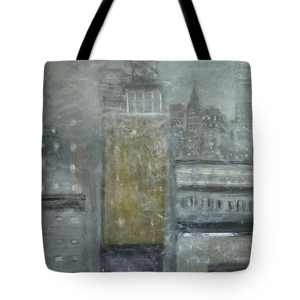 Fog Covered City Tote Bag